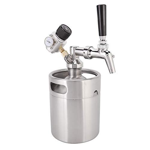 Mini barril Growler, dispensador de cerveza duradero, grifo + lanza + barril + cerveza casera a presión que se mantiene fresco y carbonatado para exteriores y bares