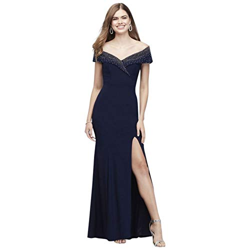 David's Bridal Beaded Jersey Off-The-Shoulder Dress with Lapel Style 841X, Navy, 2