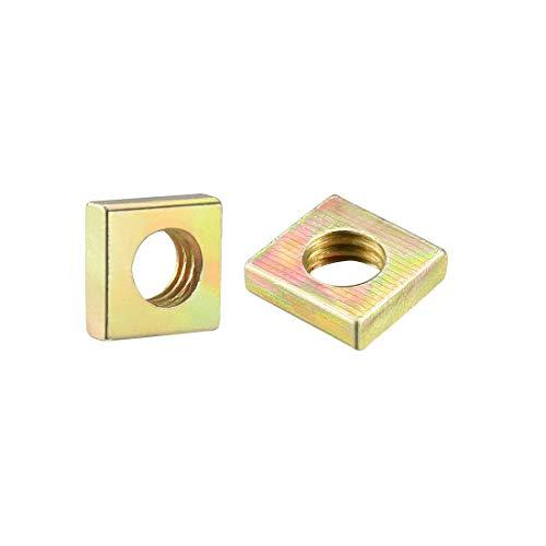 uxcell Square Nuts, M6x10mmx3mm Yellow Zinc Plated Metric Coarse Thread Assortment Kit, 100 Pcs