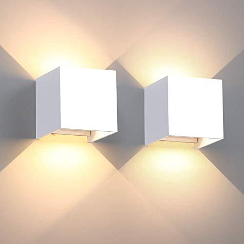 Wandlampe 12W 2er Pack dekorative Wandleuchte Innen IP65 LED Wandleuchte Abstrahlwinkel Außenwandleuchten schwarzes Aluminium 3000K Warmweiß