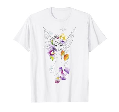 Disney Peter Pan Tinker Bell Outline Floral Sketch Portrait T-Shirt