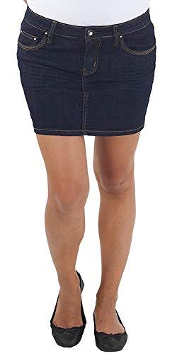 Damen Jeans Minirock Mini Rock Jeansrock Sommerrock Hüftrock Stretch XS/34