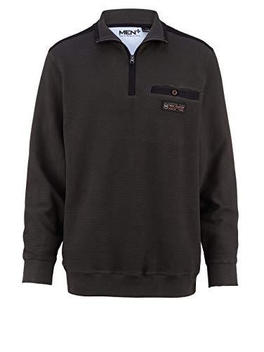Men Plus by HAPPYsize Herren Spezialschnitt Sweatshirt Langarm mit Umlegekragen in Olivgrün aus Baumwolle