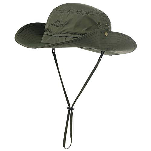 UPF 50 Cappelli da sole a tesa larga, in rete, protezione UV, protezione da safari, pesca, passeggiate, trekking, boonie, cappelli da uomo, impermeabile e traspirante 00702_verde militare M