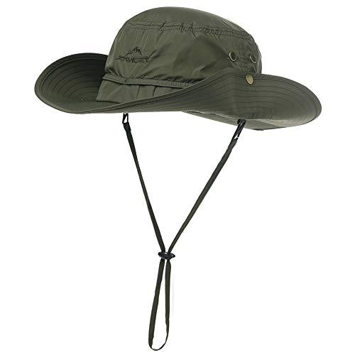 Comhats Outdoor Faltbarer Boonie Buschhut mit Kinnband UPF 50+ Unisex Armygrün