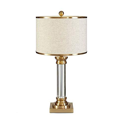 Tischlampe - Bronze-Metallfuß, Büro des Präsidenten Kreative einfache zylindrische Kristall-High-End-Tischlampe, verwendet im Schlafzimmer, Büro XYJGWSTD