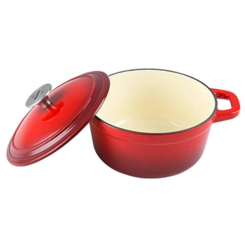 Eggs Perfect for Steak Zelancio Enamel Cast Iron Skillet 10 inch Oven Safe Smooth Surface Fry Pan and So Much More! Fajitas Cayenne Red