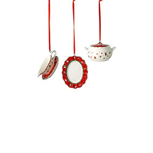 Villeroy & Boch - Toy's Delight Decoration Decorazioni servizio di stoviglie, 3 pz, elegante set di decorazioni pendenti per l'albero di Natale, porcellana, colorate, 3 x 6 cm