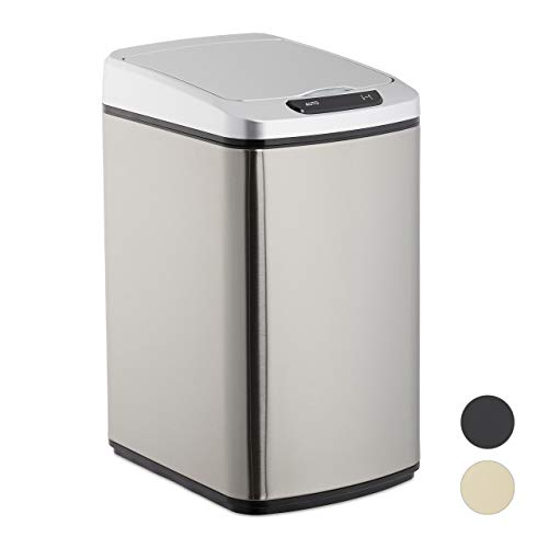 Relaxdays Sensor Mülleimer 12l, eckiger Abfalleimer mit Deckel & Inneneimer, Küche & Bad, Automatik Mülleimer, silber