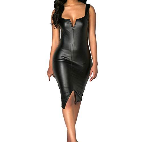 Kaister Damen Mode Plus Size Sexy V-Ausschnitt ärmellose Gabel Party Prom Lederkleid