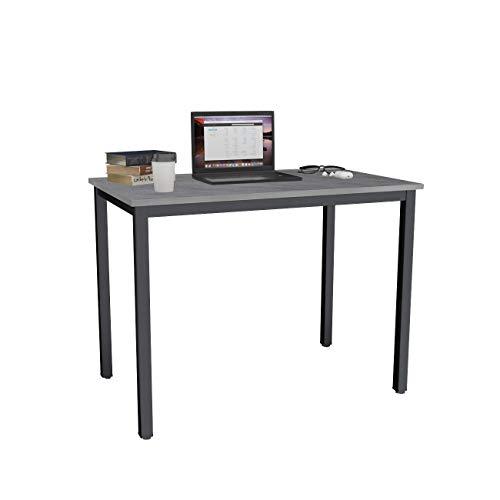 DlandHome Mesa de Ordenador 100x60cm Escritorio de Oficina Mesa de Estudio Puesto de Trabajo Mesa de Despacho,Gris & Negro