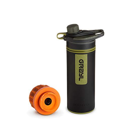 Grayl GeoPress Outdoor- und Reisewasserfilter mit 1 Ersatzfilter - Camo Black