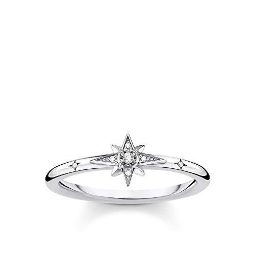 THOMAS SABO Damen Ring Stern mit Steinen Silber 925 Sterlingsilber TR2317-051-14