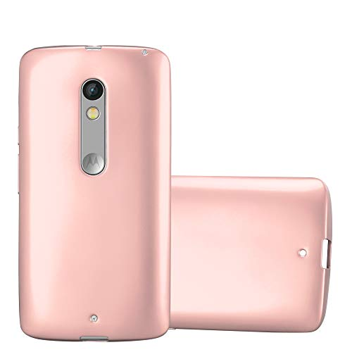 Cadorabo Hülle für Motorola Moto X Play - Hülle in METALLIC Rose Gold – Handyhülle aus TPU Silikon im Matt Metallic Design - Silikonhülle Schutzhülle Ultra Slim Soft Back Cover Hülle Bumper