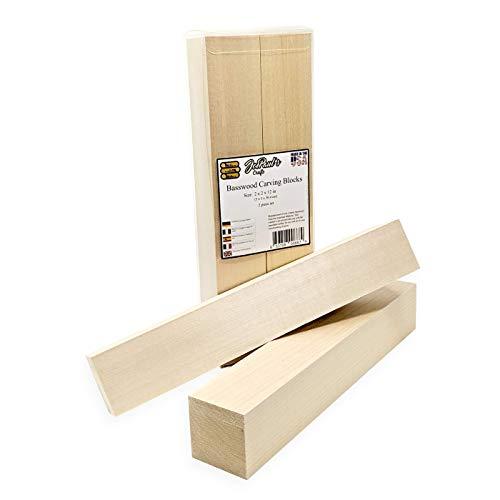 Lindenholz (Basswood) - Extra-große Kanthölzer - 5 cm x 5 cm x 30,5 cm Schnitzblöcke - 2er Pack