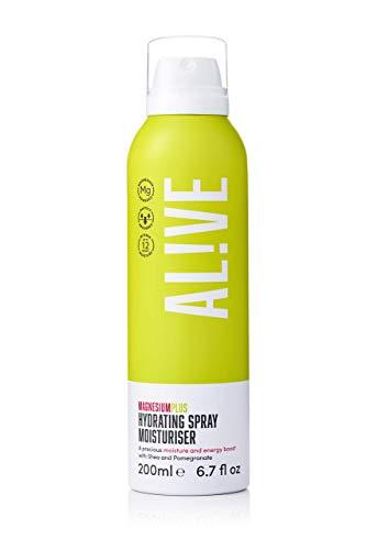 ALIVE Magnesium Plus Hydrating Body Spray Moisturiser, Men & Womens Easy Spray Full Body Nourishing Moisturising Spray Enriched with Shea & Pomegranate 200 ml