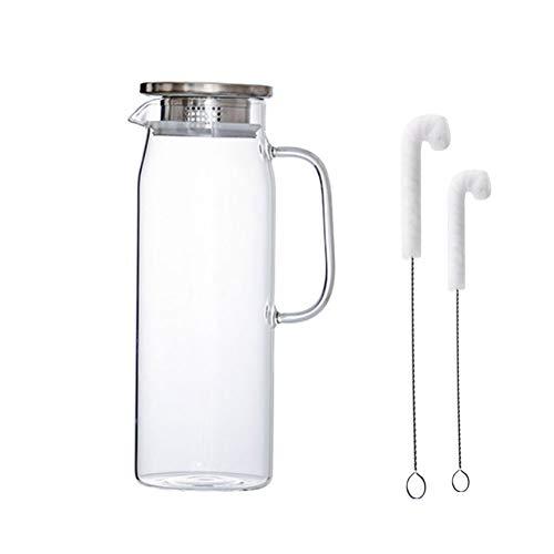 Jarras de Cristal, Botella de agua de cristal, Agua Fría y Caliente 1.5 litros Jarras de Vidrio de Borosilicato con Tapa y Boquilla