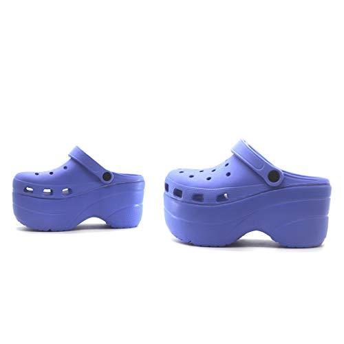 Cape Robbin Gardener Platform Clogs Slippers for Women, Women's Fashion Comfortable Slip On Slides Shoes - Blue Size 7