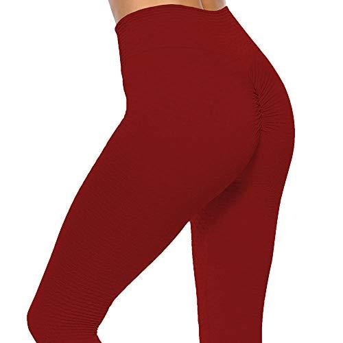 XFYS Pantalones de Yoga Mujeres Altas Leggings de Cintura entrenando Medias-Vino Rojo_Metro