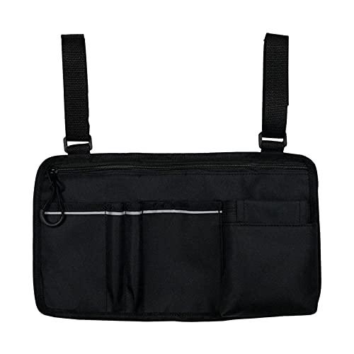 SunniMix Bolsa de Reposabrazos Lateral para Silla de Ruedas Bolsa de Transporte Walker de Bolsillo con Portavasos Negro