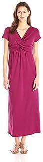 Star Vixen Women's Short-Sleeve Twist-Front Maxi Dress
