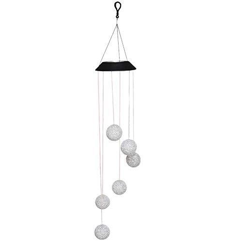 Tulipuk luz LED de color cambiante con energía solar, lámpara de crysta con forma de bola de viento, giratoria, portátil, para exteriores, decorativa, romántica, para patio, jardín, casa, alberca