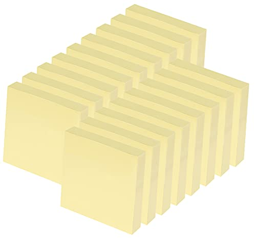 24 Stück Gelb Haftnotizen 76 x 76mm - 2400 Blatt Sticky Notes Selbstklebende Haftnotizzettel Klebezettel bunt zettel farbig Notizblöcke für Büro Haus, Pastell Gelb