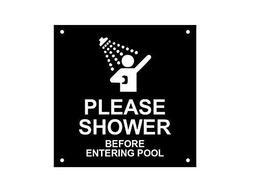 OriginDesigned Please Shower Before Entering Pool – Robustes wasserdichtes Acryl-Schild, mit Bohrlöchern (Blau und Weiß/Schwarz und Weiß)