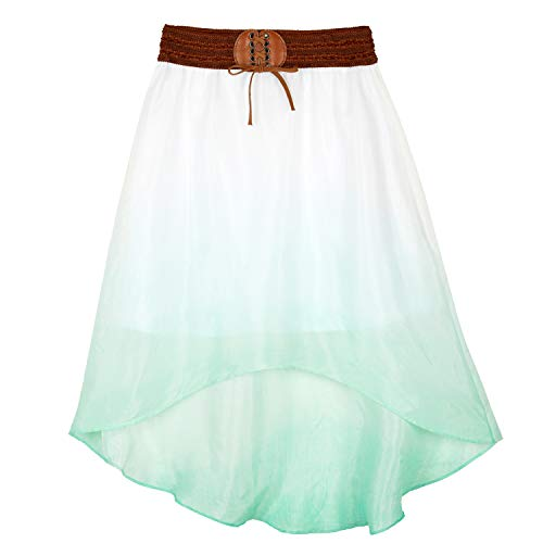 Amy Byer Girls' High Low Maxi Skirt with Belt Waistband, Mint, X-Large