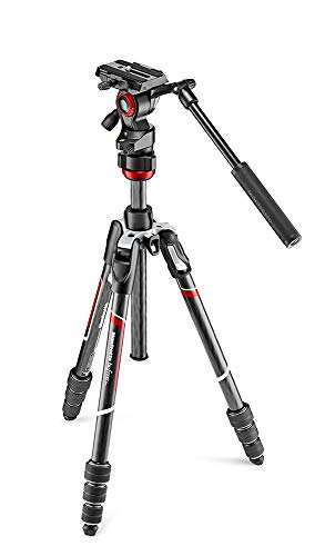 Manfrotto MVKBFRTC-LIVE Manfrotto befree Live Kit Twist Carbon con Fluid de Cabezal de vídeo, Blanco/Rojo