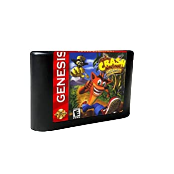 Royal Retro Crash Bandicoot - USA Label Flashkit MD Electroless Gold PCB Card for Sega Genesis Megadrive Video Game Console  Region-Free