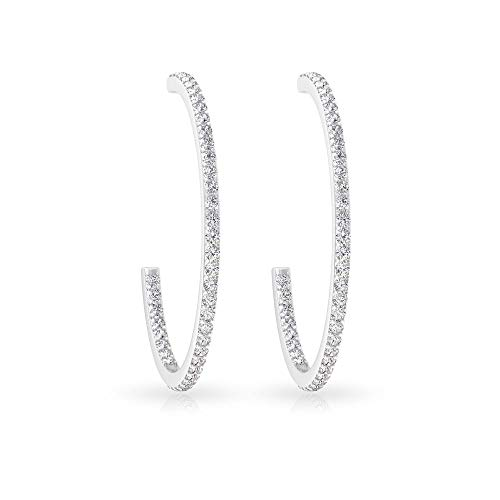 Micro Pave 0.65 Carat Certified Diamond Half Hoop Earring, Vintage Modern Party Women Large Hoop Earring, 14k Gold Open Circle Bridal Wedding Earrings, 18K White Gold, Pair
