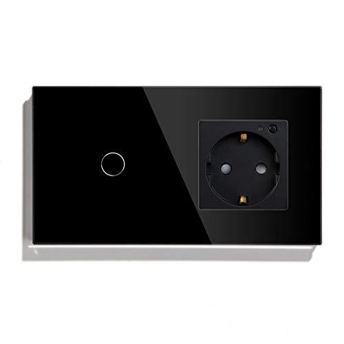 BSEED WiFi Smart Alexa Lichtschalter mit Steckdose, Kompatibel mit Google Home Tuya, Glas Touchscreen-schalter Wlan Lichtschalter 1 Gang 1 Weg Schwarz (Neutrale Leitung Benötigt)