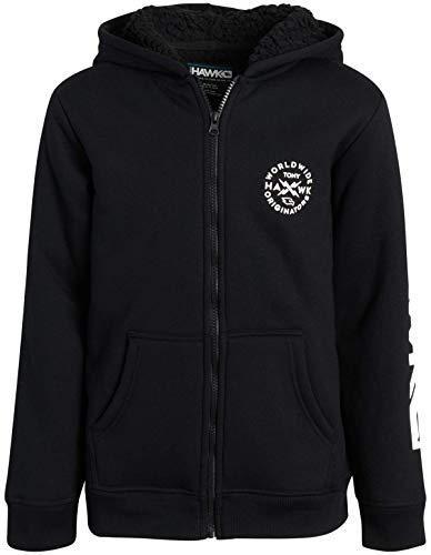 Tony Hawk Boys' Sweatshirt - Full Zip Hoodie with Sherpa Lining, Black, Size 10/12