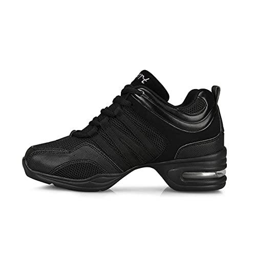 i-Found Zapatos Al aire libre Deportes Danza Mujer - Mujeres Cordones de lona Suela de goma Zapatillas de deporte Moda Practicidad Correr Zapatilla Casual Danza (Blanco 3), color Negro, talla 41 EU