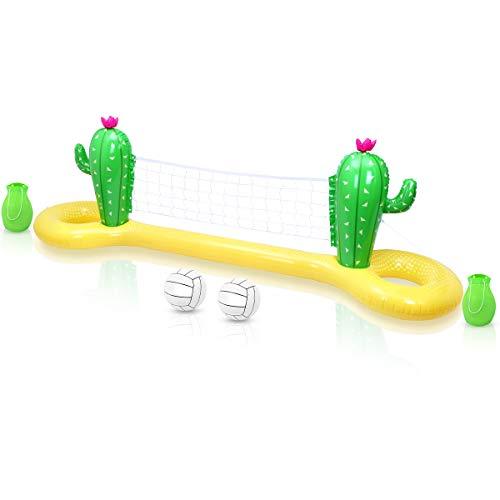 NUOBESTY Juego de PVC inflable de voleibol, juego de cactus, red de voleibol, flotante, agua, pool, fiesta, voleibol, juego de natación, piscina del partido de verano, 300 x 70 x 100 cm