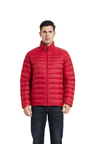 SLOW DOWN Men's Ultra Lightweight Packable Down Jackets Water Resistant Winter Puffer Coat (Carmine Red, L)