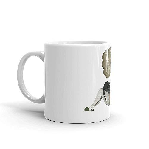Gatos y café de Lsjuee. Las tazas de 11 onzas son el regalo perfecto para todos. Tazas de café clásicas de 11 onzas, asa en C y construcción de cerámica