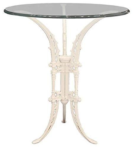Casa Padrino Luxus Jugendstil Beistelltisch Weiß Ø 70 x H. 74 cm - Handgeschmiedeter Schmiedeeisen Tisch mit Glasplatte - Wohnzimmer Garten Terrassen Möbel