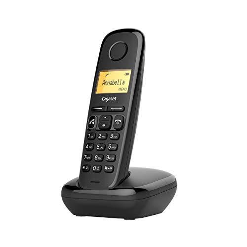Gigaset A270 - Teléfono fijo inalámbrico para casa manos libres, gran pantalla iluminada, agenda 80 contactos, color negro