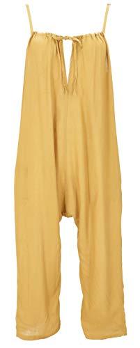 Guru-Shop Sommerliche Latzhose, Ethno Style Boho Einteiler, Overall, Damen, Safran, Synthetisch, Size:XL (42), Lange Hosen Alternative Bekleidung