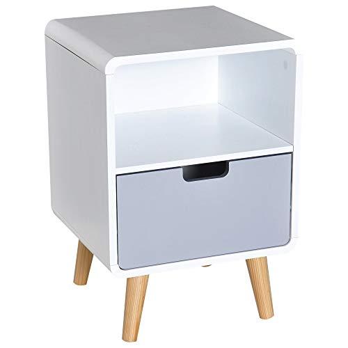 Homcom Chevet Table de Nuit Design scandinave 40L x 38l x 58H cm tiroir + Niche Bois Massif pin MDF Blanc Bleu Gris