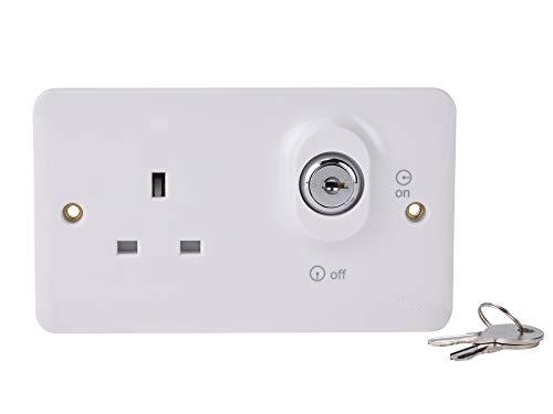 Schneider Electric GGBL3060L Lisse - Enchufe con interruptor (bloqueable, 2 bandas, 13 A, 230 V, 5 unidades), color blanco