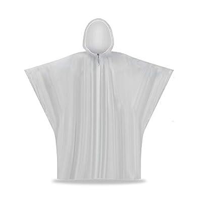 RNRISI Child White Coveralls (5 Pack) Children Rain Ponchos Emergency Disposable Raincoats (Kids Poncho)