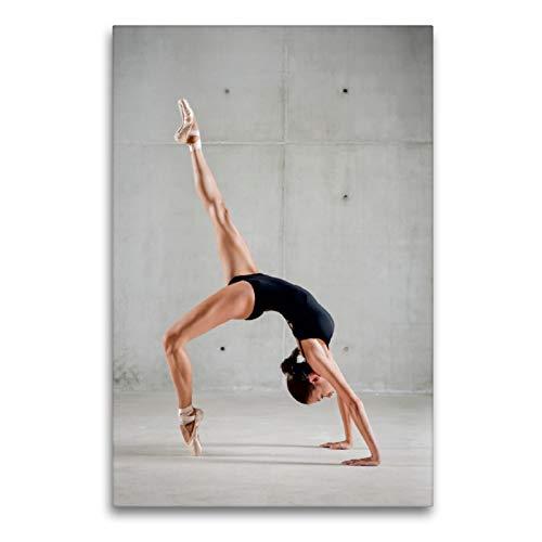 CALVENDO Lienzo Premium de 60 cm x 90 cm de Alto, Bailarina de Ballet en Cuerpo Negro Que Forma tu Cuerpo en un Puente, Imagen sobre Lienzo (Arte, Arte calvento