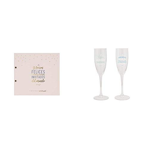 Mr. Wonderful MRW10 - Libro de firmas de una boda genial + Copas para brindar por lo Bueno Que está por Llegar, Pack de 2...