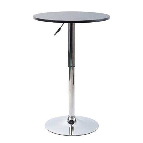 Pearington Artis Adjustable Round Bar and Pub Table Set with Chrome Base,