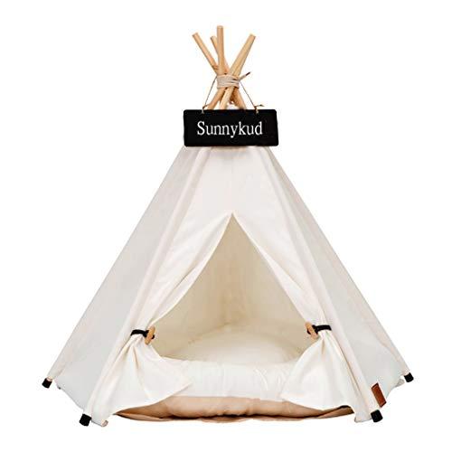 Sunnykud Tipi Zelt für Haustiere Hundezelt Katzenzelt Haustierzelte Häuser mit Kissen Abnehmbar und Waschbar Haustierbett Wegklappen Haustier Zelt Möbel Hundebett Katzenbett 60x60x70cm