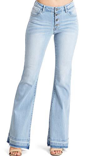 C'est TOI Women's Juniors Mid Rise Denim Bell Bottom Jeans (3, Light Denim)