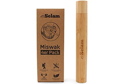 eSelam 4x Premium Miswak, natürliche Zahnbürste + Bamboo Case Reiseetui aus Bambus für Zahnbürste und Miswak